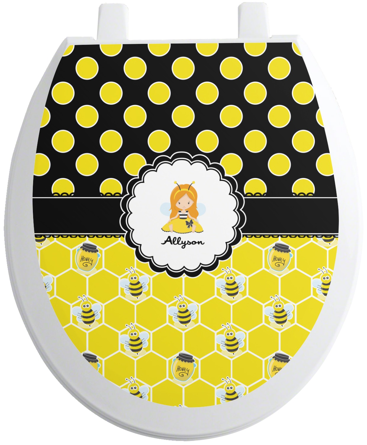 Groovy Honeycomb Bees Polka Dots Toilet Seat Decal Personalized Theyellowbook Wood Chair Design Ideas Theyellowbookinfo