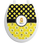 Honeycomb, Bees & Polka Dots Toilet Seat Decal (Personalized)