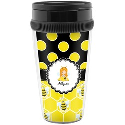 Honeycomb, Bees & Polka Dots Travel Mugs (Personalized)