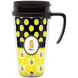 Honeycomb, Bees & Polka Dots Travel Mug with Handle (Personalized)
