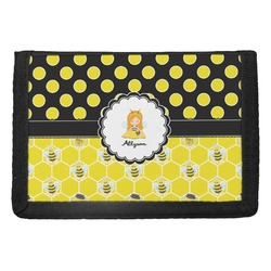 Honeycomb, Bees & Polka Dots Trifold Wallet (Personalized)