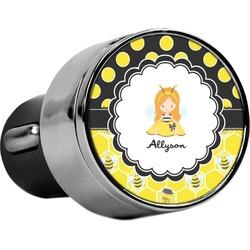 Honeycomb, Bees & Polka Dots USB Car Charger (Personalized)