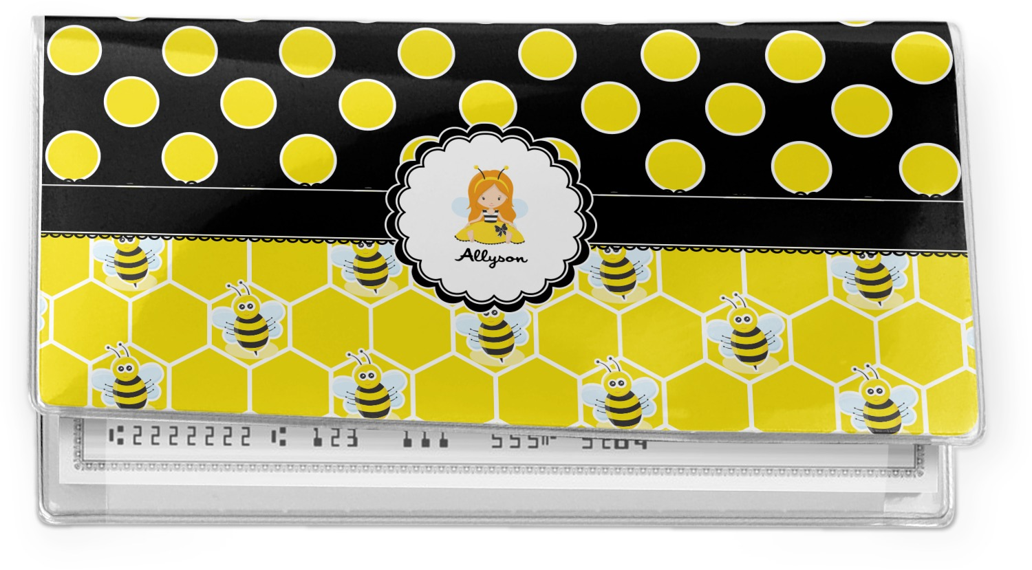 Bees /& Polka Dots Vinyl Checkbook Cover Personalized Honeycomb