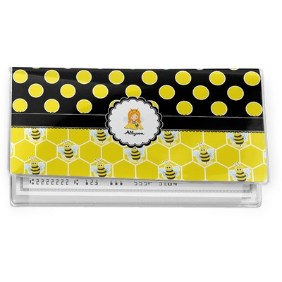 Honeycomb, Bees & Polka Dots Vinyl Checkbook Cover (Personalized)