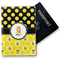Honeycomb, Bees & Polka Dots Vinyl Passport Holder (Personalized)