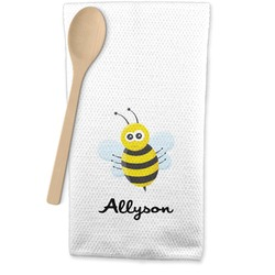 Honeycomb, Bees & Polka Dots Waffle Weave Kitchen Towel (Personalized)
