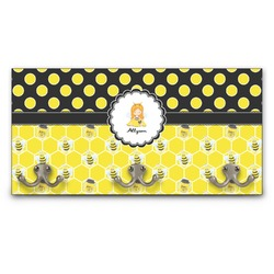 Honeycomb, Bees & Polka Dots Wall Mounted Coat Rack (Personalized)