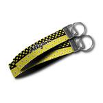 Honeycomb, Bees & Polka Dots Wristlet Webbing Keychain Fob (Personalized)