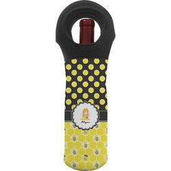 Honeycomb, Bees & Polka Dots Wine Tote Bag (Personalized)