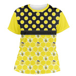 Honeycomb, Bees & Polka Dots Women's Crew T-Shirt (Personalized)