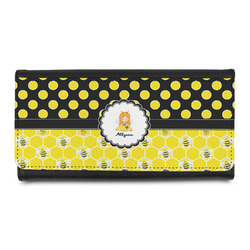 Honeycomb, Bees & Polka Dots Leatherette Ladies Wallet (Personalized)