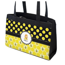 Honeycomb, Bees & Polka Dots Zippered Everyday Tote (Personalized)
