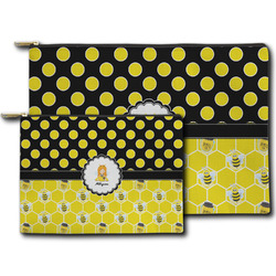 Honeycomb, Bees & Polka Dots Zipper Pouch (Personalized)