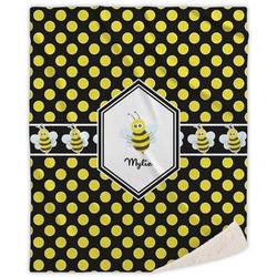 Bee & Polka Dots Sherpa Throw Blanket (Personalized)