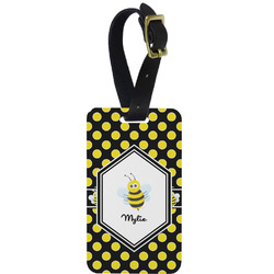 Bee & Polka Dots Aluminum Luggage Tag (Personalized)