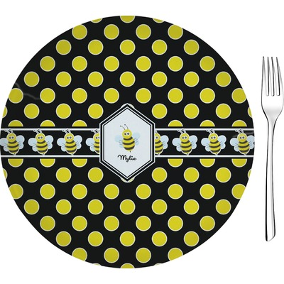 """Bee & Polka Dots 8"""" Glass Appetizer / Dessert Plates - Single or Set (Personalized)"""