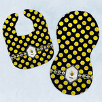 Bee & Polka Dots Baby Bib & Burp Set w/ Name or Text