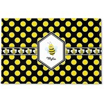 Bee & Polka Dots Woven Mat (Personalized)