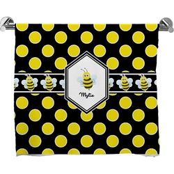 Bee & Polka Dots Full Print Bath Towel (Personalized)