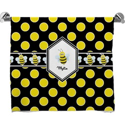 Bee & Polka Dots Full Print Bath Towel (Personalized)