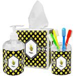 Bee & Polka Dots Acrylic Bathroom Accessories Set w/ Name or Text