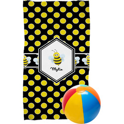 Bee & Polka Dots Beach Towel (Personalized)