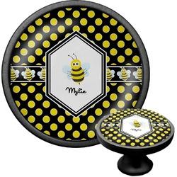 Bee & Polka Dots Cabinet Knob (Black) (Personalized)