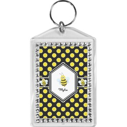 Bee & Polka Dots Bling Keychain (Personalized)