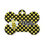 Bee & Polka Dots Bone Shaped Dog ID Tag (Personalized)