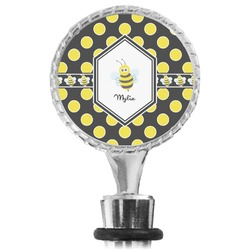 Bee & Polka Dots Wine Bottle Stopper (Personalized)