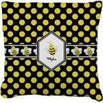 Bee & Polka Dots Faux-Linen Throw Pillow (Personalized)