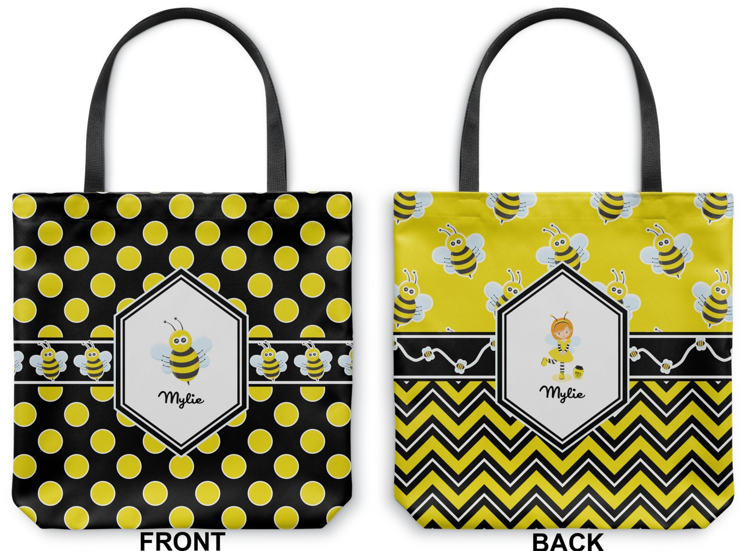 0a56dec18 Bee & Polka Dots Canvas Tote Bag (Personalized) - YouCustomizeIt