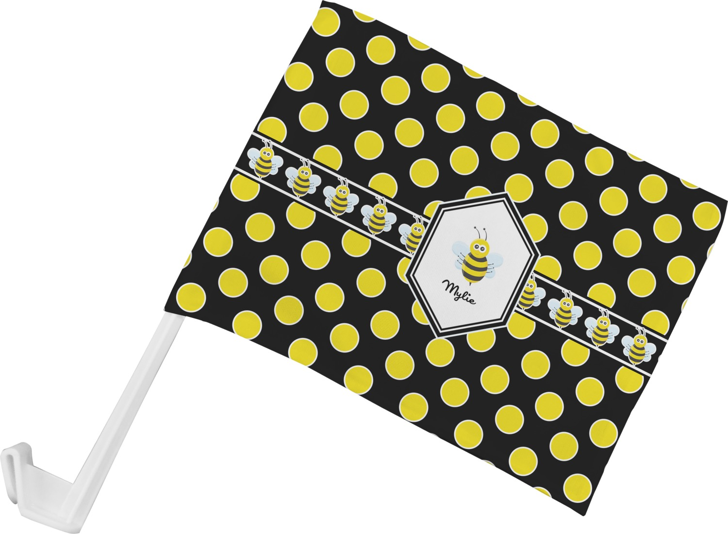 Design car flags - Bee Polka Dots Car Flag Personalized