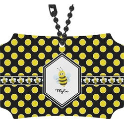 Bee & Polka Dots Rear View Mirror Ornament (Personalized)