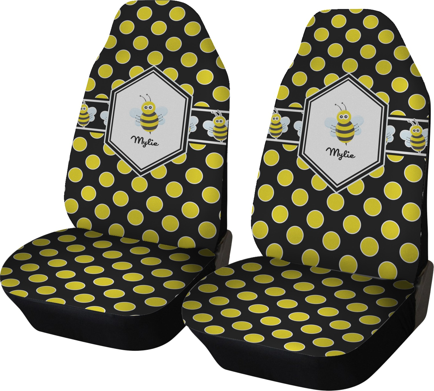 bee polka dots car seat covers set of two personalized youcustomizeit. Black Bedroom Furniture Sets. Home Design Ideas