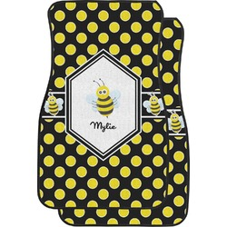 Bee & Polka Dots Car Floor Mats (Front Seat) (Personalized)