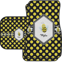 Bee & Polka Dots Car Floor Mats Set - 2 Front & 2 Back (Personalized)