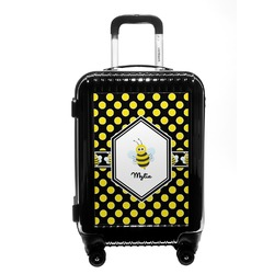 Bee & Polka Dots Carry On Hard Shell Suitcase (Personalized)