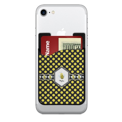 Bee & Polka Dots 2-in-1 Cell Phone Credit Card Holder & Screen Cleaner (Personalized)