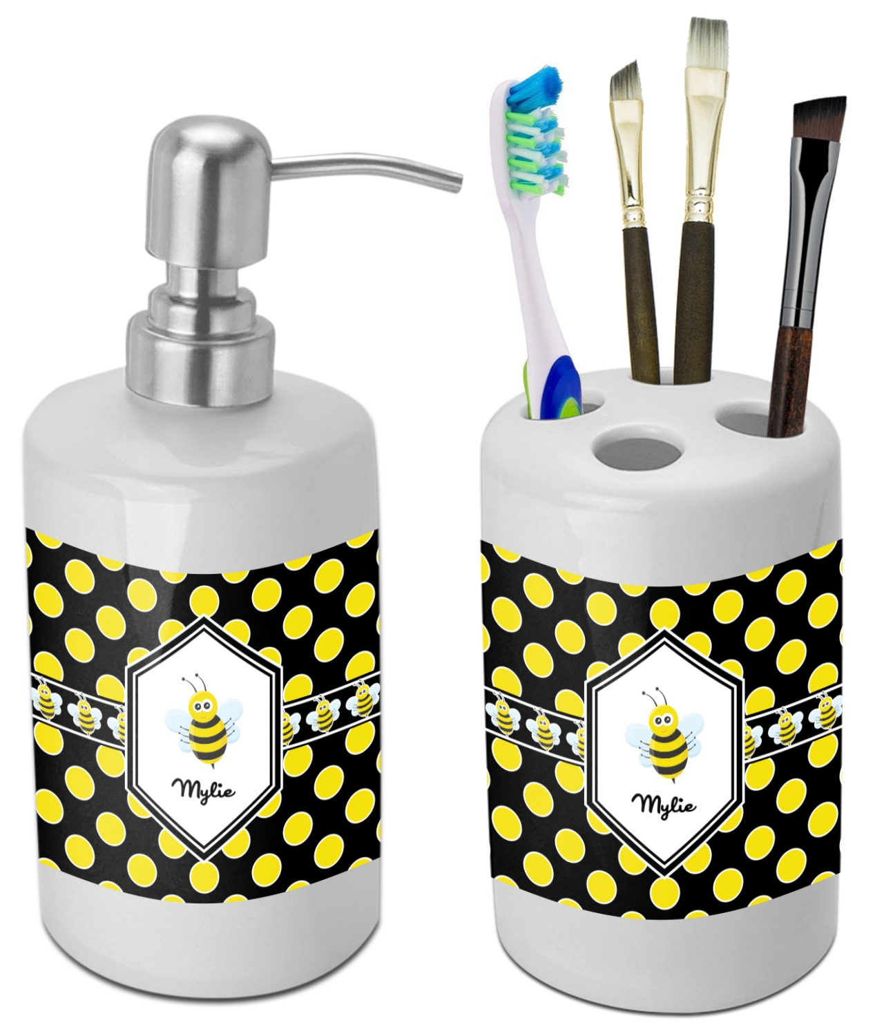 Bee Polka Dots Bathroom Accessories Set Ceramic Personalized Youcustomizeit