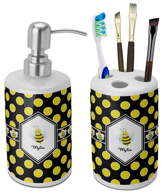 Bee Polka Dots Bathroom Accessories Set Ceramic Personalized Youcustomizeit