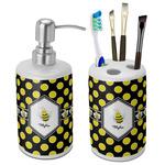 Bee & Polka Dots Ceramic Bathroom Accessories Set (Personalized)