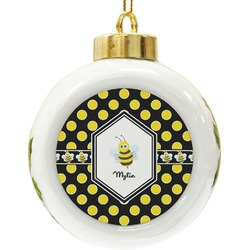 Bee & Polka Dots Ceramic Ball Ornament (Personalized)
