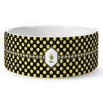 Bee & Polka Dots Ceramic Dog Bowl (Personalized)