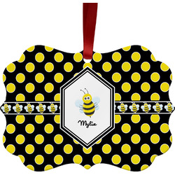 Bee & Polka Dots Ornament (Personalized)