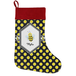 Bee & Polka Dots Holiday Stocking w/ Name or Text