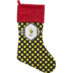Bee & Polka Dots Christmas Stocking (Personalized)