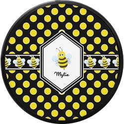 Bee & Polka Dots Round Trailer Hitch Cover (Personalized)
