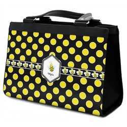 Bee & Polka Dots Classic Tote Purse w/ Leather Trim w/ Name or Text