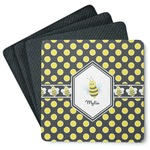 Bee & Polka Dots 4 Square Coasters - Rubber Backed (Personalized)